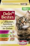 Dein Bestes Vorteilspack Marchen-Menu 6 x 100гр in Gelee, fur Katzen, 600g - 6 упаковок в желе специально обогащен таурином, который может поддерживать функцию зрения и сердца. (2шт с телятиной и индейкой на весенних овощей + 2 шт с курицей, индейкой и вкусные груши + 2 шт с 3-мя видами мяса птицы и грибов) (Германия)
