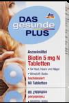 Витаминный комплекс для поддержки здорового вида кожи, сильных ногтей, здоровых волос + для образования кератина - Das gesunde Plus Biotin 5mg N, 60 табл. (Германия)