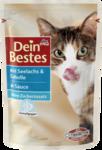 Dein Bestes mit Seelachs & Scholle in Sauce, fur Katzen, 100 g - с сайдой и камбалой в соусе, для кошек, (Германия) 100гр.